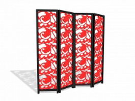 Carved folding screen 3d model