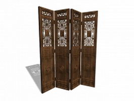 Antique Chinese screen room dividers 3d model