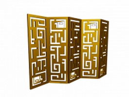Carved screen room divider 3d model
