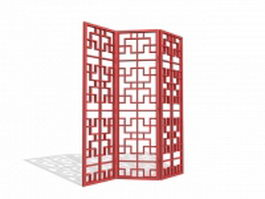 Latticework screen room divider 3d model