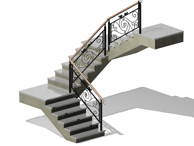 Indoor concrete staircase 3d model
