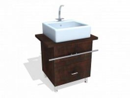 Small bathroom vanity cabinet for apartment 3d model