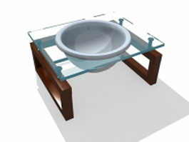 Glass bathroom vanity 3d model
