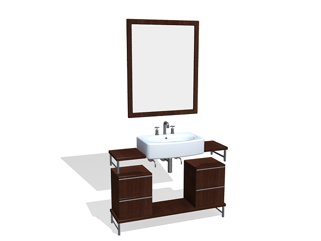 Bathroom Vanity Cabinet With Mirror 3d Model 3ds Max Files