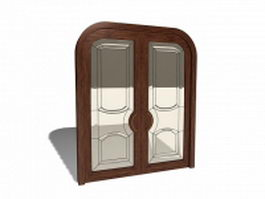 Double front door with glass 3d model