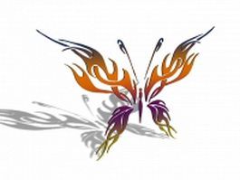 Butterfly carved decorative panel 3d model