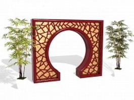 Chinese garden door and bamboo 3d model
