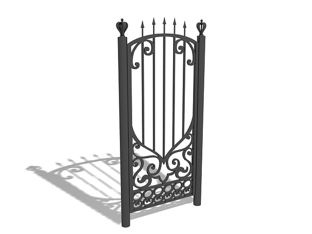 Wrought iron garden gate 3d model 3ds max files free for Garden design in 3ds max