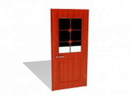 Red door with glass 3d model