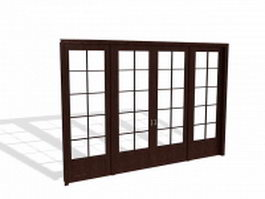 French door room divider 3d model
