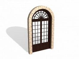 Arch exterior french door 3d model