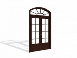 Arch French door with transom 3d model