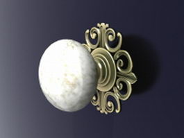 Vintage door knob and hardware 3d model