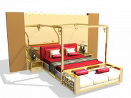 Four-poster bed with headboard 3d model