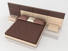 King bed with attached nightstand 3d model