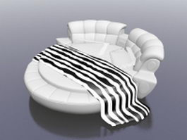 White round bed 3d model