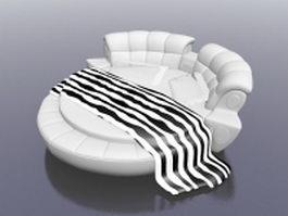 White round bed 3d model