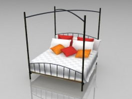 Black iron four poster bed 3d model
