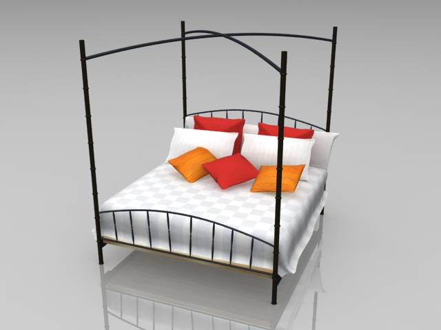 Black Iron Four Poster Bed 3d Model 3ds Max Files Free