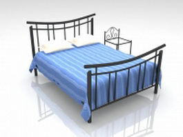 Wrought iron bed with nightstand 3d model
