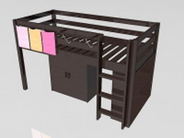Loft bed with storage 3d model