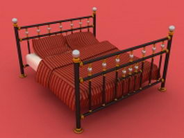 Antique metal bed 3d model