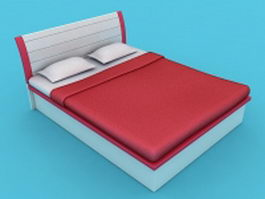 Platform bed with headboard 3d model