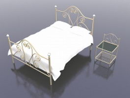 Brass bed with nightstand 3d model