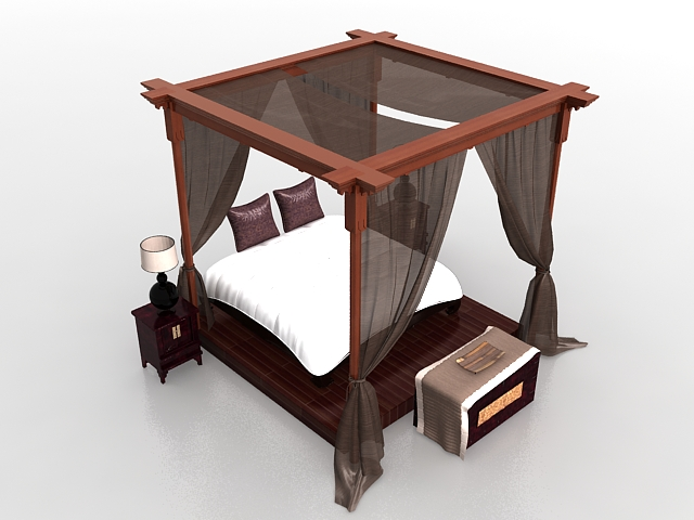 Luxury canopy bed furniture sets 3D Model & Luxury canopy bed furniture sets 3d model 3ds max files free ...
