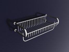 Metal bathroom wall shelf with towel bar 3d model