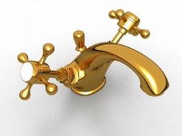 Cross handle basin faucet 3d preview