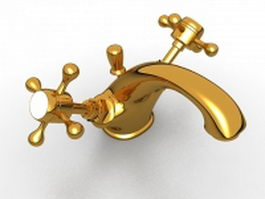 Cross handle basin faucet 3d model