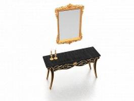 Vintage vanity table with mirror 3d model