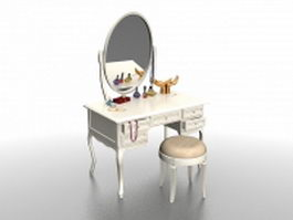 Vanity table set with mirror 3d model