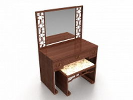 Vanity table and stool 3d model