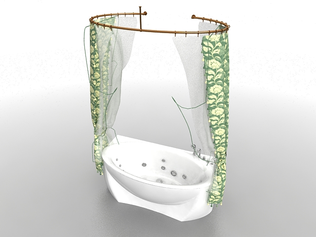 Bathtub With Shower Curtain 3d Model 3ds Max Files Free
