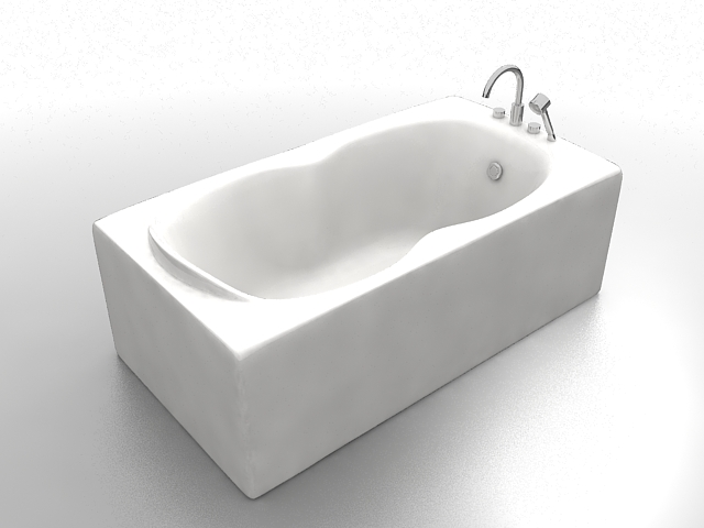 Rectangle bathtub with shower 3d model 3ds max files free download ...