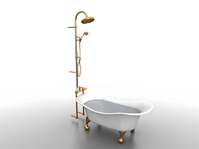 Bathtub With Shower Head 3d Model 3ds Max Files Free