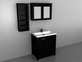 Bathroom vanity with mirror and wall cabinet 3d model