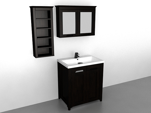 Bathroom Vanity With Mirror And Wall Cabinet 3d Model 3ds Max Files Free Download Modeling