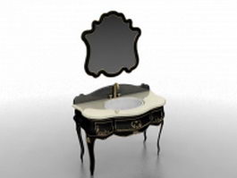 Antique black bathroom vanity 3d model