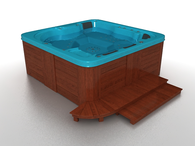 Outdoor whirlpool Spa tub 3d model 3ds max files free download ...