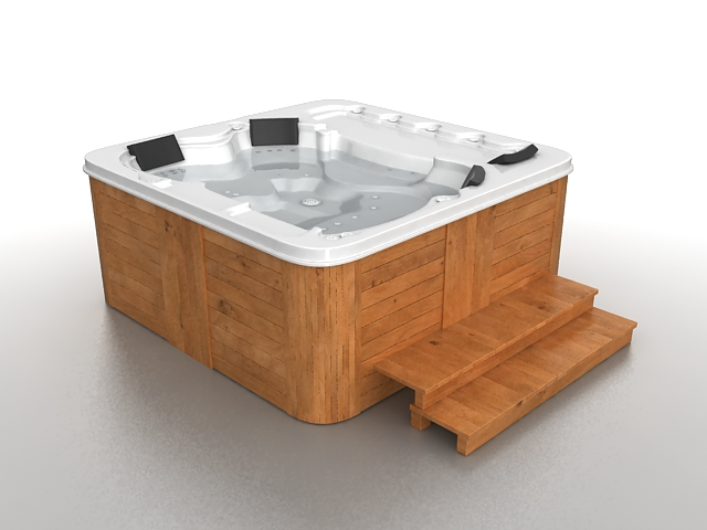 Outdoor Jacuzzi tub 3d model 3ds max files free download - modeling ...