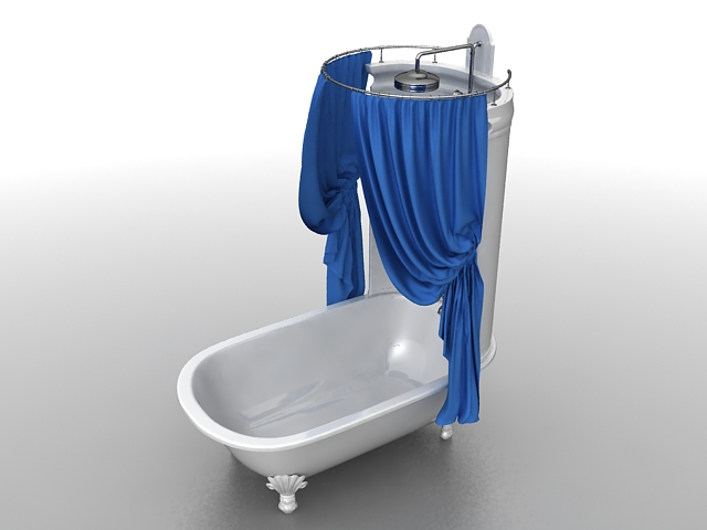 Clawfoot Tub With Shower Curtain 3d Model