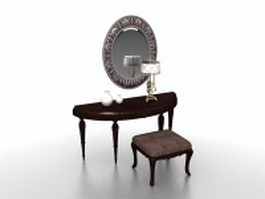 Vintage vanity set with mirror 3d model