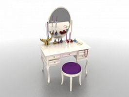 White vanity table and stool set 3d model