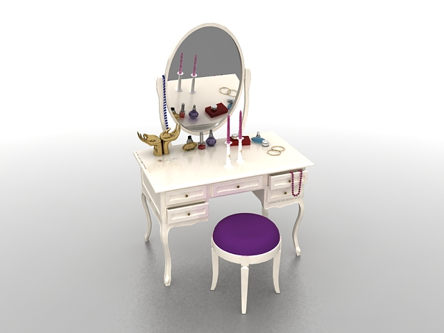 White Vanity Table And Stool Set 3d Model 3ds Max Files