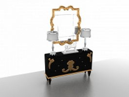 Vintage vanity table with mirror and lights 3d model