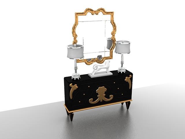 Vintage Vanity Table With Mirror And Lights 3d Model 3ds Max Files Free Downl