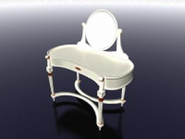 Vintage white vanity table 3d model